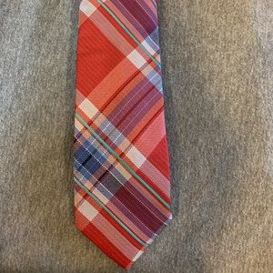 Men's tie red with stripes multicolor